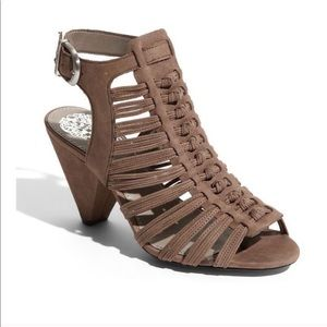 Vince Camuto Taupe Edita Leather Cage Heels